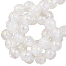 Galvanisierte Crackle Glasperlen (6 mm) Crystal AB (70 Stück)