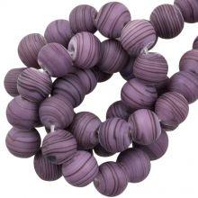 Glasperlen Matt Gestreift (8 x 9 mm) Purple (21 Stück)