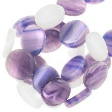 Glasperlen Flach (12 x 3.5 mm) Lavender (30 Stück)