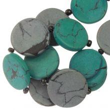 Keramikperlen (23 x 3.5 mm) Grey / Green (8 Stück)