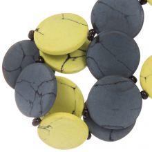 Keramikperlen (23 x 3.5 mm) Yellow / Grey (8 Stück)