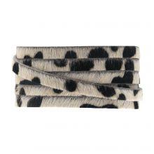 DQ Flaches Leder Safari (5 x 2 mm) Leopard Light Brown Druck (1 Meter)