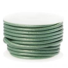 DQ Leder (2 mm) Metallic Mint Green (5 Meter)