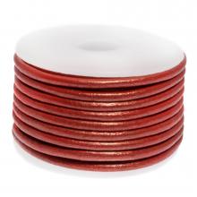 DQ Leder (3 mm) Metallic Bright Red (5 Meter)