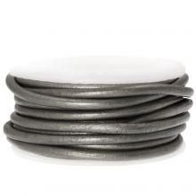 DQ Leder (3 mm) Metallic Grey (5 Meter)