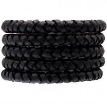 DQ Geflochtenes Leder (8 mm) Black (1 Meter)