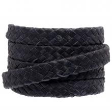 DQ Geflochtenes Leder (10 x 3 mm) Dark Blue (1 meter)