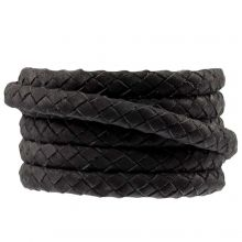 DQ Geflochtenes Leder (6 x 3 mm) Black (1 meter)