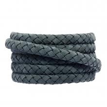 DQ Geflochtenes Leder (6 x 3 mm) Stone Blue Grey (1 meter)
