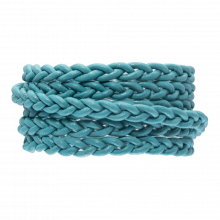 DQ Flach Geflochtenes Leder Regular (6 x 3.5 mm) Sky Blue (1 Meter)