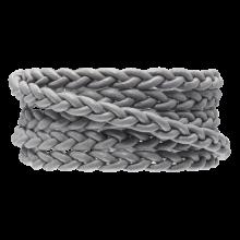 DQ Flach Geflochtenes Leder Regular (6 x 3.5 mm) Light Grey (1 Meter)