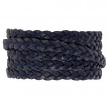 DQ vintage flach geflochtenes Leder (5 x 2 mm) Navy Blue (1 Meter)