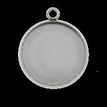 Edelstahl Fassung 1 Öse (12 mm) Altsilber (10 Stück)