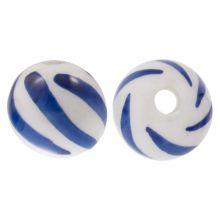 Delfter Blau Keramikperlen (10 mm) White-Blue (4 Stück)