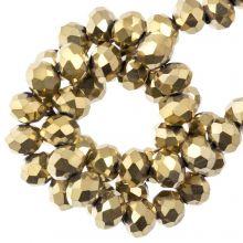 Facettperlen Rondell (4 x 6 mm) Frozen Gold (90 Stück)