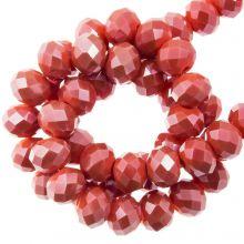 Facettperlen Rondell (4 x 6 mm) Coral Red (90 Stück)