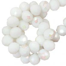 Galvanisierte Facettperlen Rondell (8 x 6 mm) White (67 Stück)