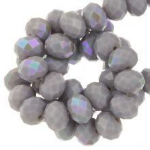 Galvanisierte Facettperlen Rondell (8 x 6 mm) Lilac Grey (67 Stück)