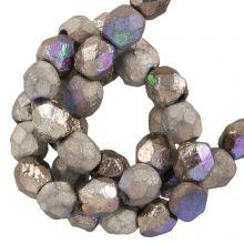DQ Feuerpolierte Perlen (4 mm) Glittery Argentic (50 Stück)