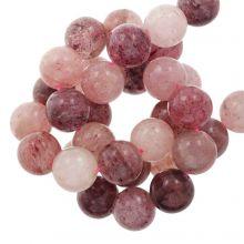 Erdbeerquarz Perlen (6 mm) 63 stück