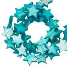 Muschelperlen Stern (11 mm) Aqua Blue (38 Stück)
