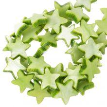 Muschelperlen Stern (11 mm) Light Green (38 Stück)