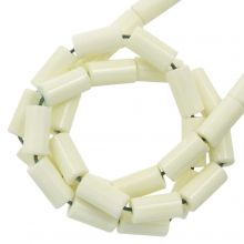 Achat Perlen Gefärbt (8 x 4 mm) Light Yellow (45 Stück)