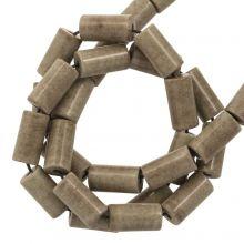 Achat Perlen Gefärbt (8 x 4 mm) Brown Grey (45 Stück)
