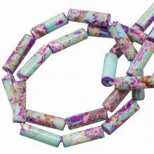 Regalit Jaspis Perlen (14 x 4.5 mm) Purple Mix Color (28 Stück)