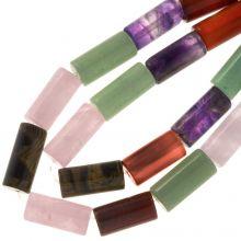 Naturstein Perlen (18 x 8 mm) Mix Color (23 Stück)