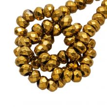Hämatit Perlen (3 x 2 mm) Gold (200 Stück)