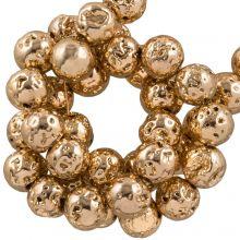 Galvanisierte Lava Perlen 4 - 5 mm) Light Gold (85 Stück)