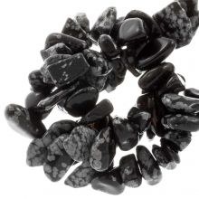 Naturstein Splitterperlen (8 - 12 mm) Schneeflocken Obsidian (150 Stück)
