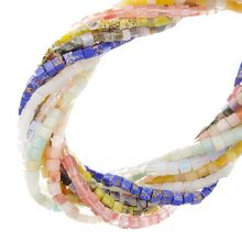 Perlenmix - Naturstein Perlen (4 x 4 mm) Mix Color (10 Stränge)