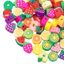 Perlenmischung - Polymer Perlen Früchte (verschiedene Größen) Mix Color (60 Stück)