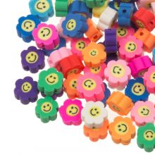 Polymer Perlen Blumen Smiley (10 x 4.5 mm) Mix Color (50 Stück)