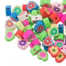 Polymer Perlen Mischung Herzen mit Blumen (10 x 5 mm) Mix Color (50 Stück)