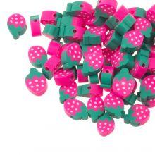 Polymer Perlen Erdbeere (12 x 4 mm) Pink / Green (30 Stück)