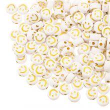 Acrylperlen Smiley (7 x 3.5 mm) White / Gold (50 Stück)
