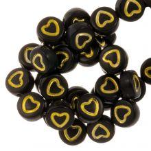 Acryl Buchstabenperlen Herz (7 x 4 mm) Black / Gold (50 Stück)
