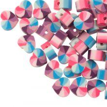 Polymer Perlen Herzen (10 x 5 mm) Mix Color Blue / Pink (50 Stück)
