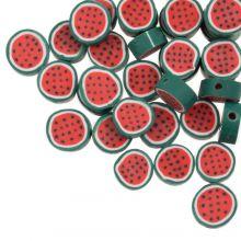 Polymer Perlen Wassermelone (10 x 4.5 mm) Red / Green (50 Stück)