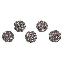 Shamballa Perlen (8 mm) Black Diamond (5 Stück)