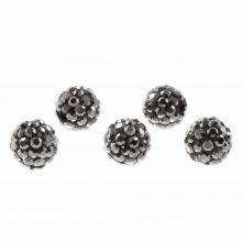Shamballa Perlen (8 mm) Antracite (5 Stück)