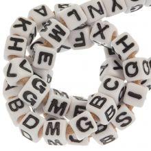 Acryl Buchstabenperlen Mix (7 x 7 mm) White (50 Stück)