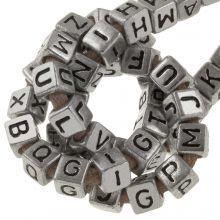 Acryl Buchstabenperlen Mix (6 x 6 mm) Silver (100 Stück)