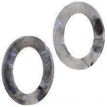 Acrylringe (37 x 28 x 3.5 mm) Grey (25 Stück)