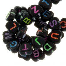 Acryl Buchstabenperlen Mix (7 x 7 mm) Black (200 Stück)
