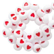 Acryl Buchstabenperlen Herz (7 x 4 mm) White / Red (350 Stück)