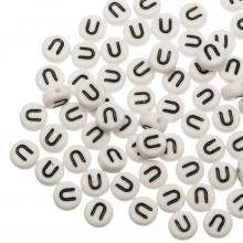 Acryl Buchstabenperlen U (7 x 4 mm) White (25 Stück)